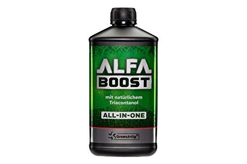 Growsartig ALFA Boost All-IN-ONE Pflanzen-Booster mit Triacontanol 1 Liter. Für Blüte, Wachstum und Bewurzelung. Steigert den Ertrag. Biozertifiziert, 100% organisch und vegan.