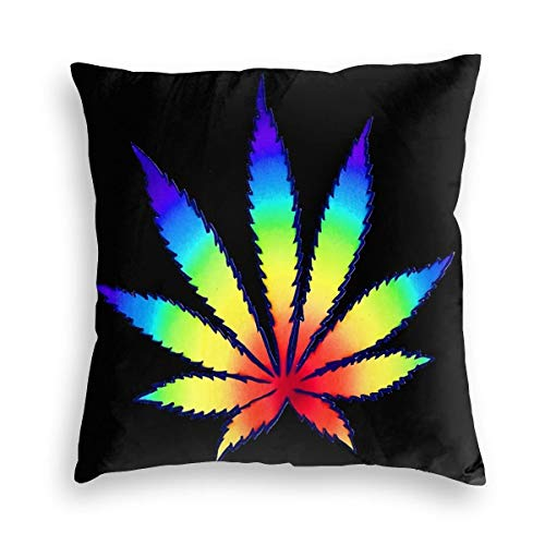 Feamo Rainbow Dope Leaf Velvet Soft Decorative Square Throw Pillow Covers Cushion Case Pillowcases for Sofa Chair Bedroom Car 18X18inch
