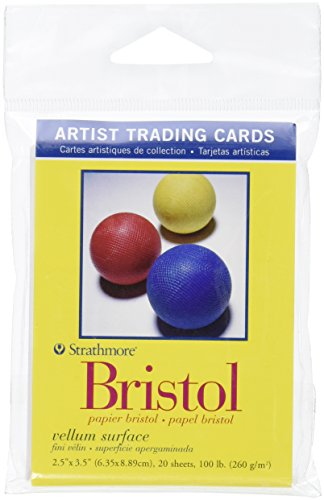 Strathmore Artist Trading Cards, 2.5 x 3.5 Inches Vellum Surface Bristol, 20 Sheets (307809