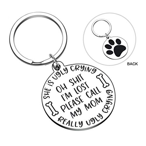 Funny Pet Tag for Cats Dogs Owner Oh Shit I'm Lost Call My Mom She's Ugly Crying Double–Side ID Dog Collar Tag Stainless Steel
