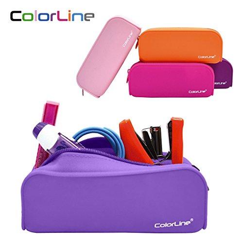 Colorline 58111 - Portatodo de Silicona con Tacto Ultra Soft de Alta Resistencia. Estuche Multiuso para Viaje, Material Escolar, Neceser y Accesorios. Color Lila. Medidas 18 x 7 x 5 cm