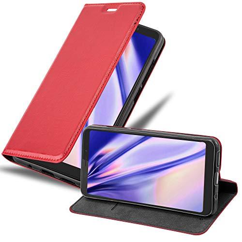Cadorabo Hülle für WIKO View XL in Apfel ROT - Handyhülle mit Magnetverschluss, Standfunktion & Kartenfach - Hülle Cover Schutzhülle Etui Tasche Book Klapp Style