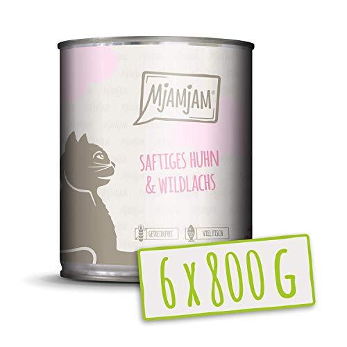 MjAMjAM Premium natte voering voor katten - sappige kip en wilde zalm, verpakking van 6 (6 x 800 g), vrij van drijven met extra veel vlees