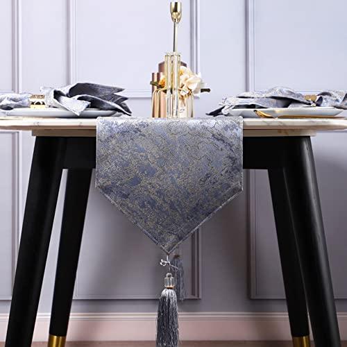 Corredor de Mesa para Mesa de Comedor Mesa de Centro Gabinete de Tv Gabinete de consola Gabinete para Zapatos Interiores y Al Aire Libre. Corredor de Mesa de Navidad(Size:210cm/83in,Color:Azul hielo)