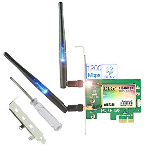 Ubit Scheda WiFi Senza Fili | 11AC Scheda Wireless PCIe Fino a 1200 Mbps | Adattatore WiFi Gigabit Dual-Band Scheda WiFi | Scheda WiFi PCIe con BT 4.2 per Giochi Desktop PC