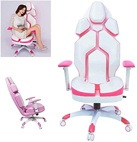 MZHEHAOAN KFJCMY - Silla de videojuegos (piel sintética, con reposabrazos ajustable), color rosa y blanco