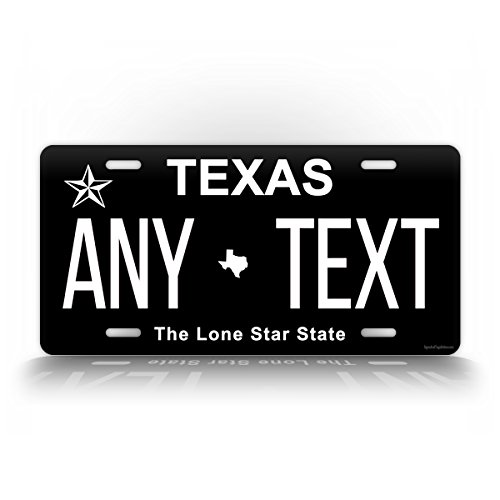 SignsAndTagsOnline Texas Inverted License Plate Customized Auto Tag Any Text Personalized TX 6x12 Aluminum Sign Black