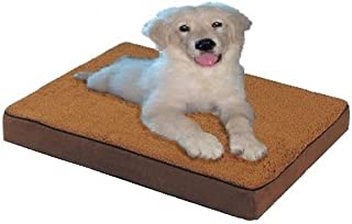 """ehomegoods 47""""X29""""X4"""" Sudan Brown Gusset Style Orthopedic Waterproof Memory Foam Pet Pad Bed for Extra Large dog crate siz..."""