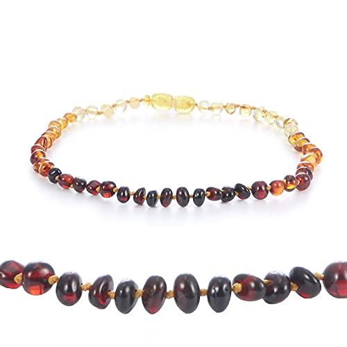 HALLTYG Collar Collar de ámbar Natural Certificado de Suministro Autenticidad Collar de bebé de Piedra de ámbar báltico Genuino Regalo 10 Colores - cm