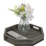 mygift 12-inch vintage gray solid wood octagon serving tray with cutout handles