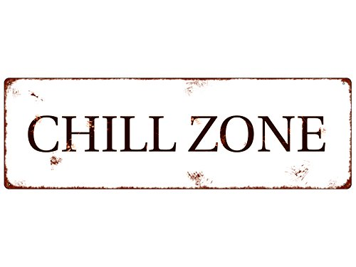 Interluxe METALLSCHILD Shabby Vintage Blechschild CHILL Zone Entspannen Wellness Relax