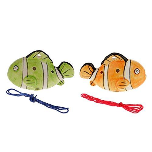 2 Stücke 6 Löcher Fisch Form Keramik Okarina Flöte Holzblasinstrument Kinder Geschenk