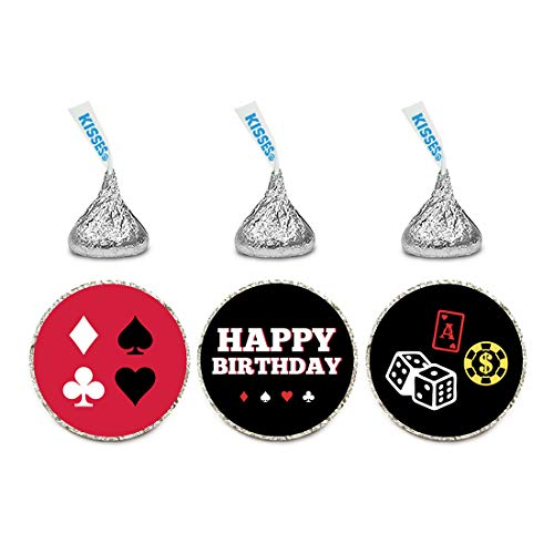 Andaz Press Birthday Chocolate Drop Labels Trio, Fits Hershey's Kisses Party Favors, Casino Party with Dice, 216-Pack