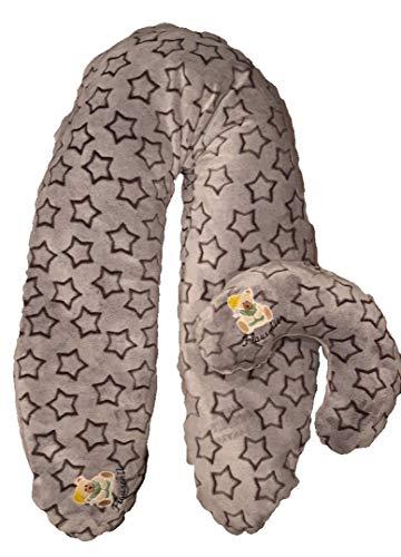 Original handgemachte Stillkissen XXL und Mini Stillkissen (für unterwegs) Set von Flauschii Wellness Fleece Schwangerschaftskissen Logo leuchtet im Dunkeln Bezug ultra weich (Braun mit Sternen)
