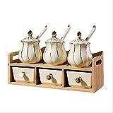 Botes para Especias novedosos Combinación de condimentos soporte estantes, cocina de cerámica de la especia Jar Botella condimento sólido con estante de especia, for almacenar Pepper / comino en polvo