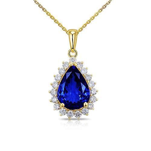 Beydodo Damen Halskette 18 Karat Gold, Tropfen 4.12ct Tansanit Anhänger Charms Kette Frauen Gold mit Diamant 45CM