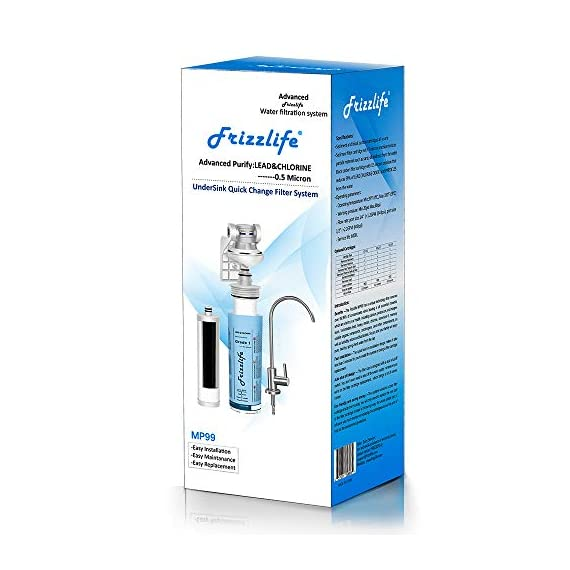 """Frizzlife Under Sink Water Filter-NSF/ANSI 53&42 Certified Drinking Water Filtration System-0.5 Micron Removes 99.99… 9 【Two-Stage Advanced Water Purifier with 0.5 Micron】: The Frizzlife MP99 Water Filtration System include a TWO-STAGE High precise compound filter, which has a unique technology that removes over 99.99% of contaminants while leaving in all essential minerals. Eliminates Lead, Heavy Metals, Chlorine, Chromium 6, Mercury, Rust, Volatile Organic Compounds, Carcinogens, and other contaminants, such as Turbidity, Ordors and Bad Tastes. enjoy pure and healthy water from the tap. no more bottle water! 【Dedicated Faucet & Brass Feed Water Adapter Valve Included】: Frizzlife Undersink water filtration system includes a dedicated stailess steel faucet that can installed in most sinks providing cleaner filtered water for cooking or drinking. NO plumbing required, it come with 3/8"""" compatible brass feed water adapter, brackets and STEP-TO-STEP Installation manual, you can mount the water filter as you wish within 10 minutes. 【Best Auto Shut Off Design】: Utilizing quick change twist-in installation design makes it take less than 3 minutes for you to install the system or doing a filter replacement. Provides for easy, tool-free, no mess filter replacement. The filter cap is designed with BUILT-IN shut off valve. You don't even need to shut off the water supply whenever you work on the filter cartridge replacement."""