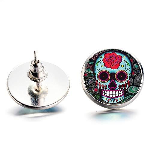 Mexiko bunte Blumen-Muster Sugar Skull Ohrstecker für Frauen Herren Ornamente Ostern Halloween Tag der Toten Schmuck