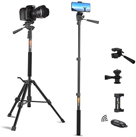 Tripod for Camera and Phone Travel Portable Monopod Tripod Stand Aluminum for DSLR Video Camcorder product image