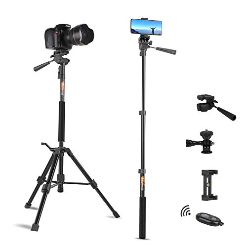 Tripod for Camera and Phone Travel Portable Monopod Tripod Stand Aluminum for DSLR Video Camcorder Smart Phone Small Flexible Selfie Stick with Remote Action Camera Mount Adapter by Besnfoto