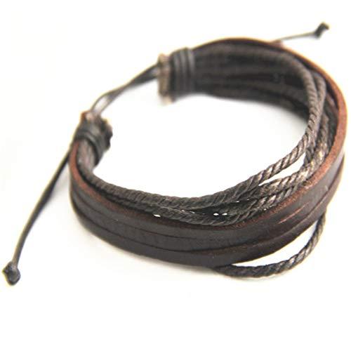 Toporchid Tres piel Multi-raíz Cera Cuerda Plus Cuero Multi-capa tejida a mano Casual hombres y mujeres Pulsera de cuero (marrón)