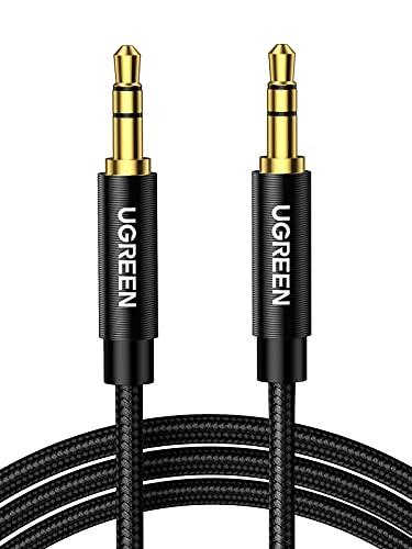 UGREEN Aux Kabel Audio Kabel 3,5 mm Klinkenkabel mit Nylon kompatibel mit Auto, Handy, Kopfhörer, Laptop, Lautsprecher, Stereoanlage, TV, usw. (0,5m, schwarz)