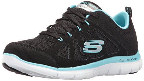 Skechers 12761/BKTQ Flex Appeal 2.0-Simplistic Damen Sneaker schwarz/türkis, Größe:40, Farbe:Schwarz