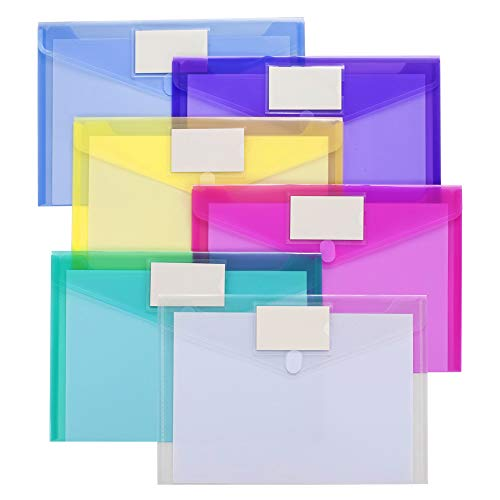 24 Pack Plastic Envelopes Poly Envelopes, Sooez Clear Document Folders US Letter A4 Size File Envelopes with Label Pocket for Home Work Office Organization, Assorted Color