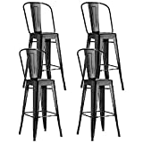 Nicemoods Metal Bar Stools Indoor-Outdoor Chairs,Modern High Backrest Industrial Metal Barstool,Bistro Style Bar Stools with Back Counter Height Stool Set of 4(Black)
