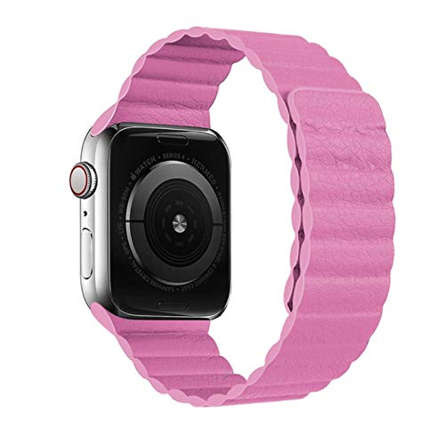 Bucle de cuero para Apple Watch band 44mm 40mm 38mm 42mm Accesorios Pulsera magnética cinturón iWatch serie 3 4 5 se 6 correa