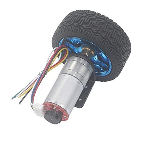 LKK-KK 12 Volt DC 6V 24V 12-1360 RPM Motor eléctrico Motor de engranaje Micro con acoplamiento de codificador Kit de automóvil inteligente de rueda de 65 mm para robot DIY