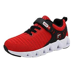 YWLINK Montando Ligero Zapatillas Deportivas Transpirables Y Ponibles Malla Informal Respirable Al Aire Libre NiñOs Zapatillas Comodidad Inferior Suave Negro, Rojo, Azul Oscuro 28-39