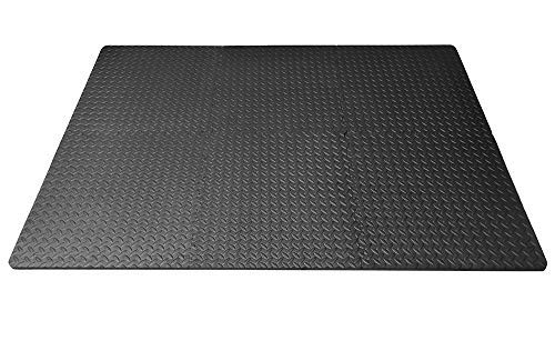 FUN n' SAFE EVA Foam Interlocking Floor Tile Mats Protective Shock Absorbing Flooring For Home Gym Weight Lifting and Equipment Kid Safe Rubber Alternative 1/2' Thick - Black 36 Square Feet