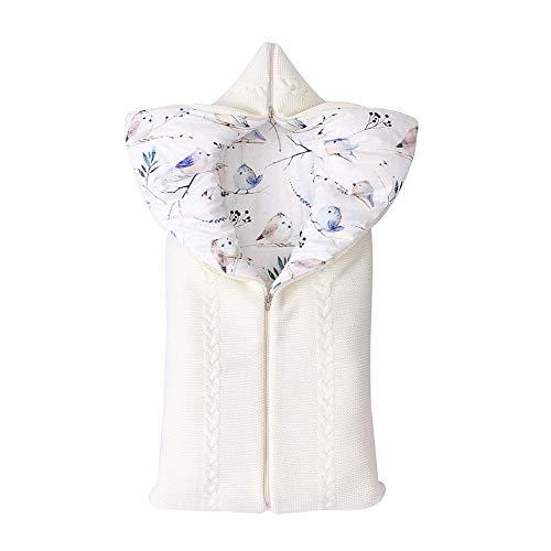 Neugeborenes Stricken Baby Schlafsack Mit Hut für Kinderwagen Buggy oder Babybett Draussen Winter-Einschlagdecke Winddicht für 0-12 Monat Baby