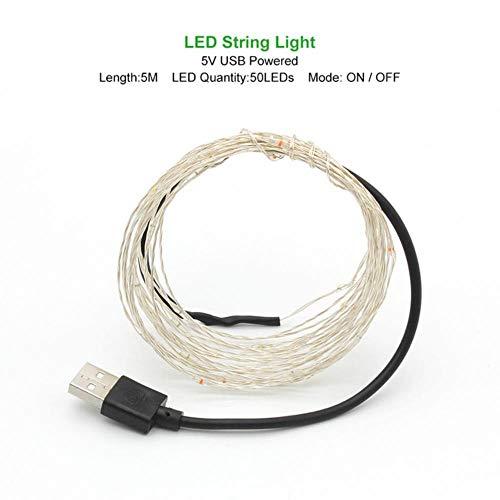 1 mt 2 mt 3 mt 5 mt 10 mt koperdraad LED lichtketting vakantie verlichting fee slinger voor kerstboom bruiloft decoratie, warm wit, 5 m powered by USB
