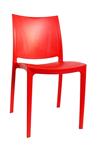 Home In Style Plastic Low Back Gardens Party Chair (Olympus - Red)