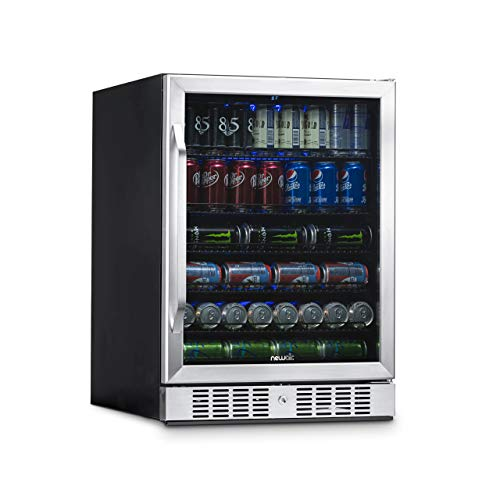 NewAir Beverage Refrigerator Cooler with 177 Can Capacity - Mini Bar Beer Fridge with Reversible Hinge Glass Door - Cools to 34F - ABR-1770 - Stainless Steel