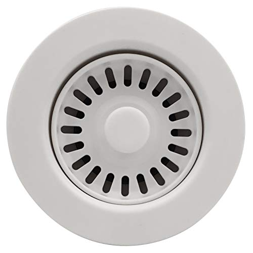 GZILA 3.5 Inch Kitchen Sink Strainer Assembly Removable Basket Drain and Stopper Drain White