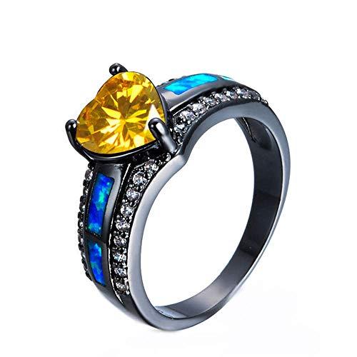 Purmy Mujeres Anillo Chapado en Oro Negro Amarilla Zirconia Cúbica Amor Corazon para Amante de la Novia Dama Tamaño 20