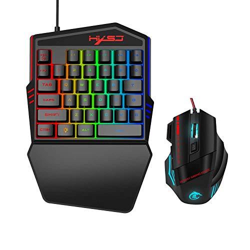 LUGEUK 35 toetsen-film eenhandig toetsenbord kleur achtergrondverlichting ondersteuning voor verschillende games linkshandigen toetsenbord