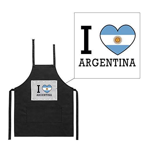 Mygoodprice Küchenschürze, Schwarz, Motiv: Grill, I Love, Flagge Argentinien Bedruckt