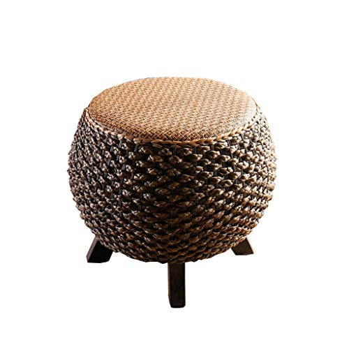 PAN Massivholz-Kreis Fußbank Sofa Hocker Holzbank Ottoman Sitz-Mode ändern Schuh Bench Round handgewebte Rattan Haushalt
