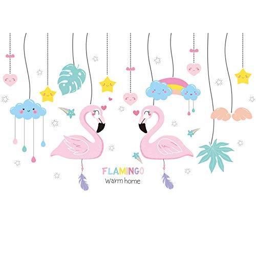 Selbstklebende Flamingo Anhänger Wandaufkleber Schlafzimmer Zimmer Warme Wandoberfläche Wanddekoration Vermietung Renovierte Prinzessin Zimmer
