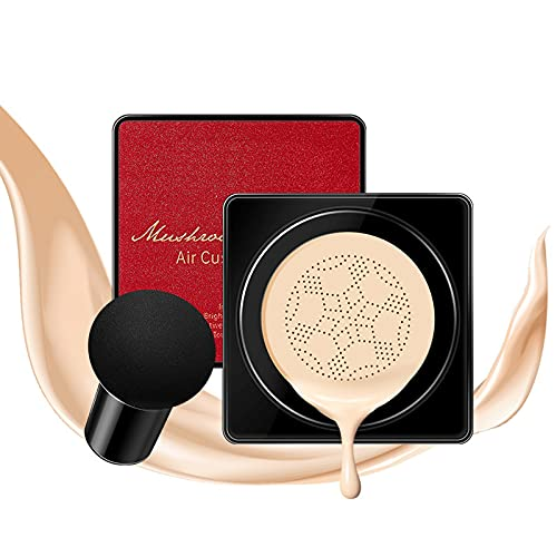 SONKENIR CC Cream BB Cream Líquida Fundación Mushroom Head Air Cushion BB Cream Ocultador Base de Maquillaje Maquillaje de Larga Duración Hidratante Corrector Permeable al aire Brillo natural (02#)