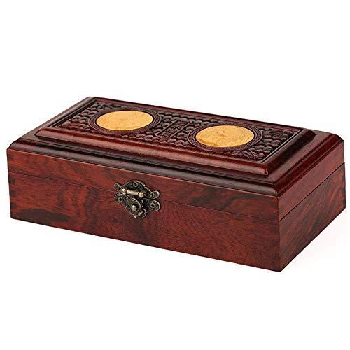 QULONG Almacenamiento de Caoba Caja de Jade Anillo Collar Pendientes Caja de Almacenamiento Laca Pintada Día de la Madre, Madre