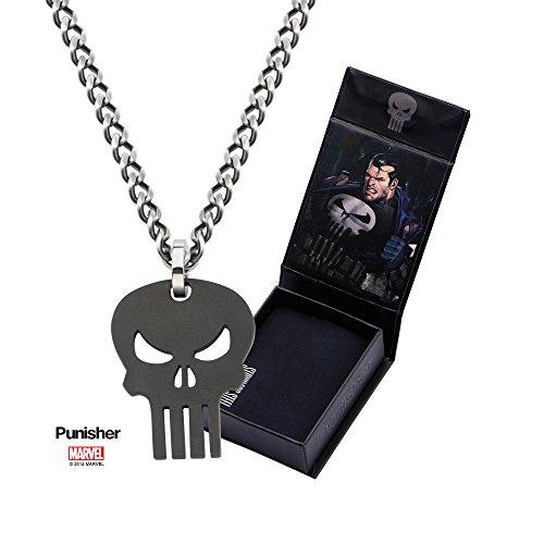 Edelstahl IP Schwarz Punisher Totenkopf Anhänger mit 61cm Kette
