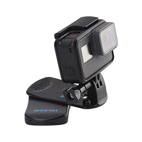 TELESIN 360 Grad Rotierend Rucksack Clip Mount Quickclip Clamp Rucksackriemen Halterung für GoPro Hero 2018 7 6 5 4 3/Session, Xiaomi YI, OKASO, Campark, Polaroid Action Kamera