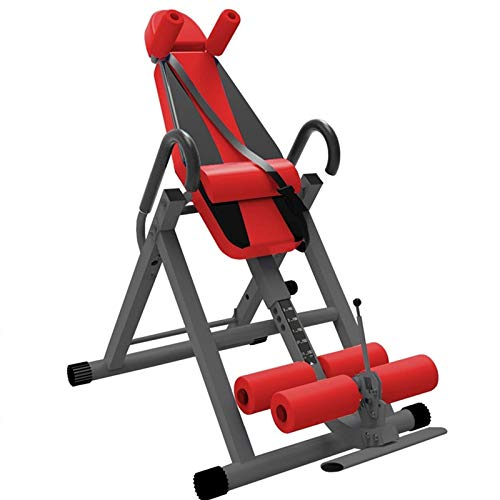 Gravity Heavy Duty Inversion Table Adjustable Height Inversion Trainer Bench Therapy Stretching Machine with Lumbar Pad for Back Pain Relief Color : Red