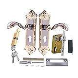 Zidao 2 PCS Im Europäischen Stil Innen Diebstahlschutz Türschloss Mit 3 Schlüssel Retro Tür Griff Aluminium Legierung Handlauf Für Home Schlafzimmer Büro,Gold