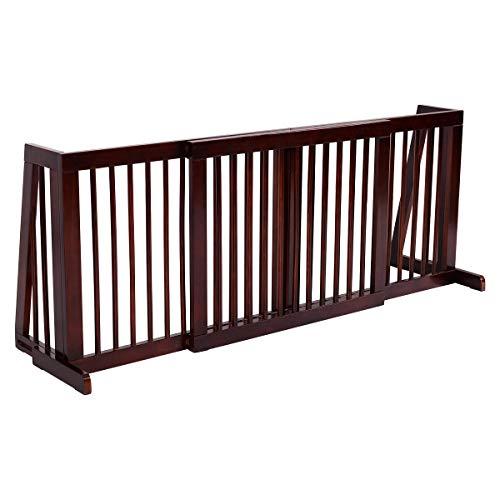 COSTWAY Barrera de Seguridad Extensible Valla de Madera para Puerta Escalera Protección para Bebé Perro Mascotas